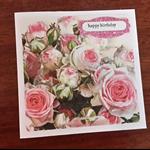 Handmade Australian Rose Birthday card.