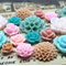 20pcs - Resin Flowers, Cabochons - Pink, Peach, Teal
