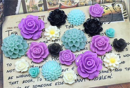 20pcs - Resin Flowers, Cabochons - Purple/Teal/Black/Cream