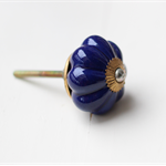 Dark Blue Ceramic Pumpkin Door Furniture Knob