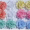 12 Baby Pastels with Apricot small shabby chiffon flowers - for hairclips
