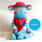 Sock Monkey Kit - Blue and Pink Stripes, Craft Kit, Soft Toy Pattern