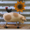 Vintage Style Pull Toy Pig with Chicken and Sunflower, Prim Pattern