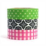 Washi tape set pink black & lime green 3x 10m rolls