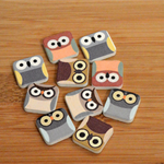 10 Square Owl Tile Button Embellishments, Scrapbooking, Card Making, Craft