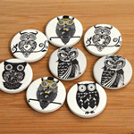 8 Wood Owl Buttons, 30mm, Sewing, Scrapbooking, Craft
