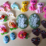 20 x resin cabochons ~cats-fairy-chocolate-Dolphins-ladybug