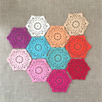 "Pack of ANY 5, ""Hexagon"" crochet motives, ornaments, appliqué"