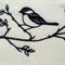 Machine Embroidery Quilt/Craft Block Bird on Branches (Blackwork)