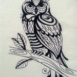 Machine Embroidery Quilt/Craft Block Sage Owl (Blackwork)