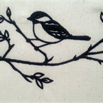 Machine Embroidery Quilt/Craft Block Bird on Branches (Blackwork)