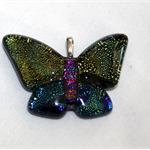 Butterfly Dichroic Glass Pendant Gold/Blue/Purple