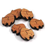 Laser Cut Supplies-6 Pieces.12 mm Wide Wombats -Sustainable Wood