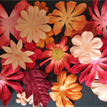 Paper Flowers - Red & Orange - Various Sizes - Assorted Pack