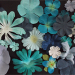 Paper Flowers - Blue - Assorted Shades, Styles & Sizes - 55 Piece Pack