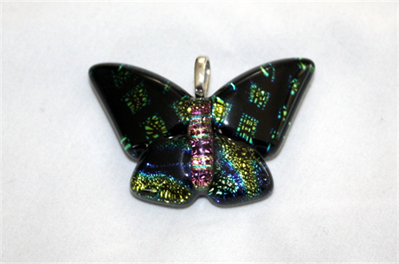 Butterfly Dichroic Glass Pendant Blues/Gold/Purple