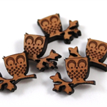 Laser Cut Wood Supplies-6 Pieces.15 mm Wide Owl on Branch - Sustainable Wood