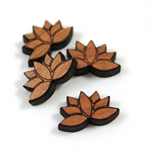 Laser Cut Wood Supplies-6 Pieces.15 mm Wide Lotus Shape - Sustainable Wood