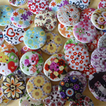50 x 25mm Floral  designs on white wood buttons