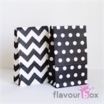 20x Black Paper Bag Chevron/Polka Dots Flat Bottom with Gusset - 22 cm x 13 cm