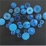 Blue Buttons - Assorted sizes/styles.