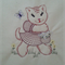 Machine Embroidery Quilt/Craft Block  Kitten and Flowers (Vintage) Design