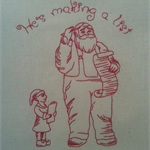 Machine Embroidery Quilt/Craft Block  Santa and List w /text Design