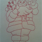 Machine Embroidery Quilt/Craft Block  Santa Post Design