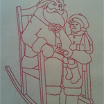 Machine Embroidery Quilt/Craft Block  Santa and  Child Design