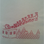 Machine Embroidery Quilt/Craft Block  Santa and Team on Rooftop  Design