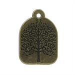 5 Charm Pendants Tree Circle Antique Bronze