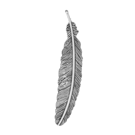 2 Large Antique Silver Feather  Pendants