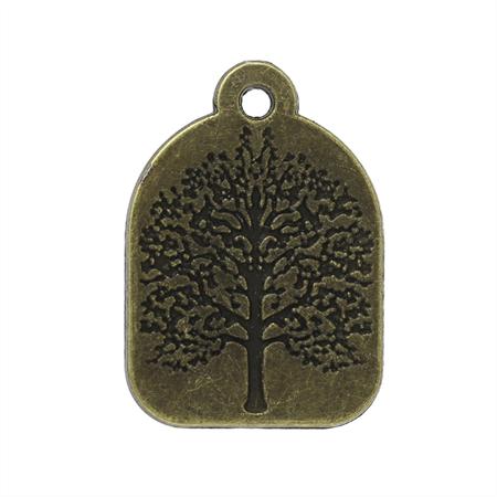 5 Charm Pendants Tree Circle Antique Bronze