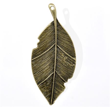 Large Antique Bronze Leaf  Pendants