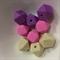 5 x Silicone Teething Beads - Hexagon shape - choose colour