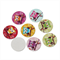 10 Colourful Printed Round Wooden Owl Embellishments