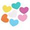 10 Colourful Printed Polka Dot Wooden Hearts