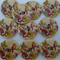 10 x 30mm Bird and flowers  on natural wood button
