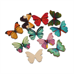10 Colourful Printed Design Wooden Butterflies