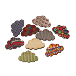 10 Colourful Printed Design Wooden Clouds