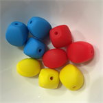 5 x Silicone Teething Beads - Olive shape - choose colour