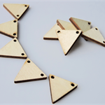 10 x wooden triangle bunting tile shapes