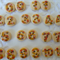 22 x Flower Numbers  15mm Natural wood buttons