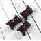 Set Of 3 Burgundy Glass Bear Beads