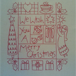Machine Embroidery Quilt/Craft Block Redwork We Wish Merry Christmas Design