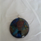 Round Dichroic Glass Pendant Blues & Brown