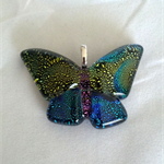 Butterfly Dichroic Glass Pendant Purple/Gold/Blue