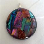Round Dichroic Glass Pendant Rainbow