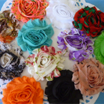 12 x 60mm shabby chic organza flowers.Ideal for hair projects and cardmaking.