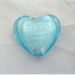 Handblown Glass Foil Light Blue Heart Bead
